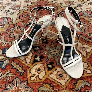 Tom Ford Strappy Cage Sandals in White Leather